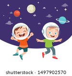 happy kid study astronomy with...   Shutterstock .eps vector #1497902570