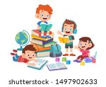 happy kids read book and study... | Shutterstock .eps vector #1497902633