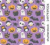 happy halloween vector seamless ... | Shutterstock .eps vector #1497939326