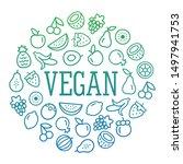 vegan frame of fruits icons... | Shutterstock .eps vector #1497941753