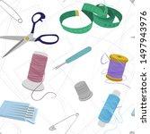 seamless vector sewing pattern...   Shutterstock .eps vector #1497943976