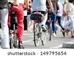 Crowd of bikes - stock photo