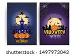 halloween pumpkins under the... | Shutterstock .eps vector #1497973043