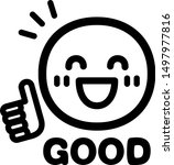 "smile mark and the word ""good"" 