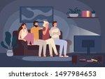 friends watching horror movie... | Shutterstock .eps vector #1497984653