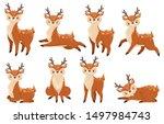 cute cartoon deer. running... | Shutterstock .eps vector #1497984743