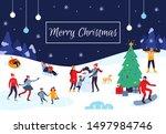 winter people merry christmas... | Shutterstock .eps vector #1497984746