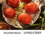 Stock photo ang ku kueh or kue ku steamed chinese pastry of glutinous rice skin with mung bean filling shaped 1498015889