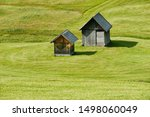 old wooden house in the meadow...   Shutterstock . vector #1498060049