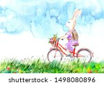 Stock photo hare on a bicycle and flowers meadow and sky summer picture white background watercolor hand drawn 1498080896