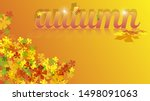 red orange yellow leaves and... | Shutterstock .eps vector #1498091063