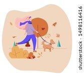 Stock vector girl walking a dog autumn activity flat design vector illustration 1498116416