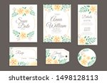 hand painted floral wedding... | Shutterstock .eps vector #1498128113