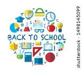 back to school flat vector... | Shutterstock .eps vector #1498145099