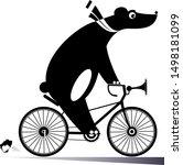 funny bear rides a bike...   Shutterstock .eps vector #1498181099