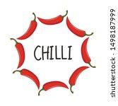 chili pattern vector. chili on...   Shutterstock .eps vector #1498187999