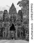 Small photo of Siem Reap, Cambodia - 16 June, 2019: Black and white photo of the beautiful South Gate of Angkor Thom, Bayon Temple, Siem Reap, Cambodia.