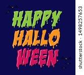 happy hallo ween slime style | Shutterstock . vector #1498257653