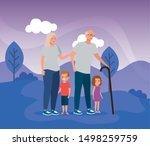 grandparents with their cute... | Shutterstock .eps vector #1498259759