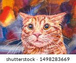 Stock photo funny cat face cute fluffy red kitten memes 1498283669