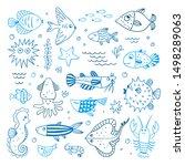 underwater sea animals vector... | Shutterstock .eps vector #1498289063