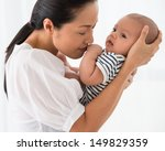 mother carrying her baby with... | Shutterstock . vector #149829359