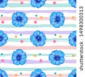petunia flower seamless pattern.... | Shutterstock .eps vector #1498300313