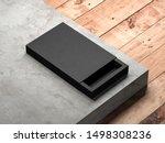 black sliding gift box mockup...   Shutterstock . vector #1498308236