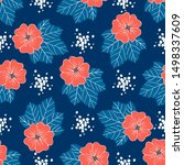 red blue floral pattern. trendy ... | Shutterstock .eps vector #1498337609
