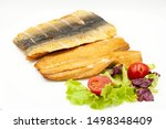Stock photo natural hot smoked herring fillet on a white plate close up 1498348409