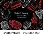 meat products top view frame.... | Shutterstock .eps vector #1498384550