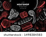 meat products top view frame.... | Shutterstock .eps vector #1498384583