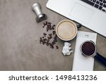 Small photo of Coffee to do list beans tamp porta filter busy schedule computer but first coffee