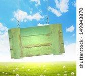 wooden blank banner hanging on... | Shutterstock . vector #149843870