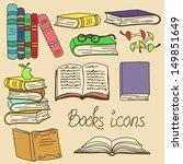 Set Of Isolated Cartoon Books...