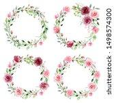 watercolor flower wreaths.... | Shutterstock . vector #1498574300