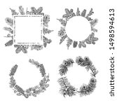 fir wreath  branch and cone... | Shutterstock .eps vector #1498594613