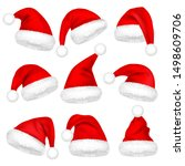 christmas santa claus hats with ... | Shutterstock .eps vector #1498609706