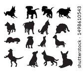 set of dog silhouette... | Shutterstock .eps vector #1498610543