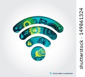minimal style wifi signal... | Shutterstock .eps vector #149861324