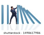 businessman in domino effect...   Shutterstock . vector #1498617986