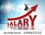 Small photo of Concept of increasing salary with businesswoman