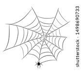 spider on web for halloween...   Shutterstock . vector #1498690733