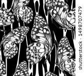 seamless pattern of butterfly... | Shutterstock .eps vector #1498707479