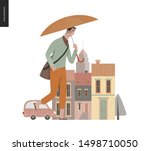rain   walking young man ... | Shutterstock .eps vector #1498710050
