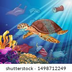sea turtle and plastic bags in...   Shutterstock .eps vector #1498712249