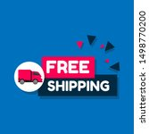 free shipping modern label or... | Shutterstock .eps vector #1498770200