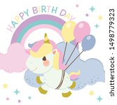 the character of cute rainbow... | Shutterstock .eps vector #1498779323
