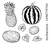 set of tropical fruits.... | Shutterstock .eps vector #1498779743