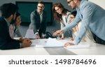 business meeting in modern... | Shutterstock . vector #1498784696